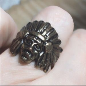 Native American Brass Indian chief ring 6.5